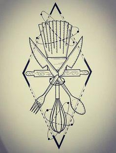 Food Tattoos, Pin Up Tattoos, New Tattoos, Tattoos For Guys, Tatoos, Knife Tattoo, I Tattoo, Sketch Tatto, Pastry Tattoo