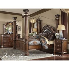 Aico Furniture Monte Carlo II Cafe Noir Queen Poster Bed with Canopy by Michael Amini Canopy Bedroom Sets, King Bedroom Sets, Bedroom Furniture Sets, Home Furniture, Furniture Design, Canopy Beds, Furniture Online, Fancy Bedroom, Furniture Market