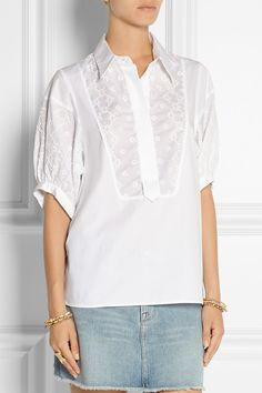 See by Chloé|Embroidered cotton-poplin top|NET-A-PORTER.COM