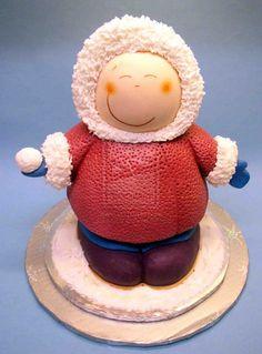 Eskimo Christmas Cake by *ginas-cakes on deviantART Unique Cakes, Creative Cakes, Pretty Cakes, Cute Cakes, Holiday Cakes, Christmas Cakes, Christmas Sweets, Christmas Wedding, Christmas Ornament