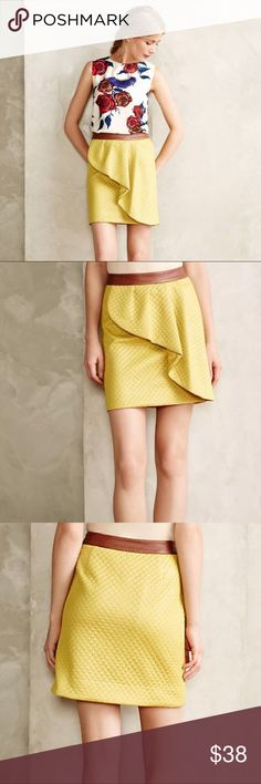 Anthropologie Lemon Petal Skirt HD in Paris Excellent condition quilters chartreuse skirt with ruffle and brown faux leather band at top. Brand is HD in Paris. No modeling or trades. Anthropologie Skirts