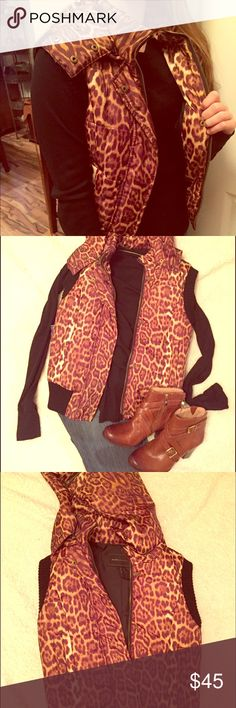 BCBG Maxazria leopard print hooded vest Super cute BCBG leopard print hooded vest; gold hardware; hood is removable and can be unzipped. Size XS; good condition BCBGMaxAzria Jackets & Coats Vests