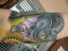 ursula tattoo  did you know ursula is not an octopus, shes a squid because it was too expensive to add the 8th tentacle xD
