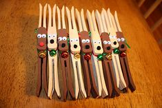 Wooden peg reindeer craft