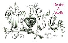 """Love Lock"" Tattoo Design by Denise A. Wells including heart locket, ornate key, rose, leaves, treble clef and devil-heart...."