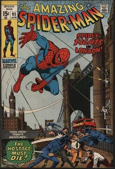 AMAZING SPIDER-MAN #95 FANTASTIC VF+ GLOSSY CENTS WHITE PAGES! SPIDEY IN LONDON