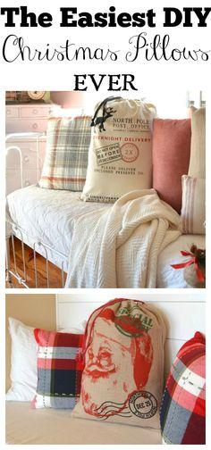 The Easiest DIY Christmas Pillow EVER. Farmhouse Christmas Decor.