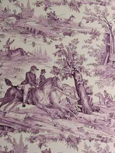 Violet Toile Equestrian Christmas Fabric