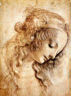 Leonardo Da Vinci - Renaissance - Drawing - Tête de femme Venise
