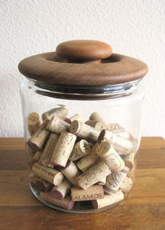 Vintage Glass Jar with Solid Teak Lid by MarketHome on Etsy, $25.00