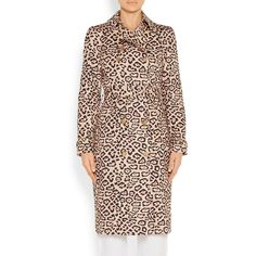 Givenchy Trench coat in leopard-print cotton ($1,140) ❤ liked on Polyvore featuring outerwear, coats, buckle coats, pleated trench coat, leopard print coat, pink leopard coat and leopard coat