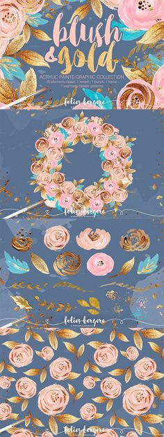 Take a look at this beautiful hand painted blush and gold graphics set. It includes 29 clip-art elements to use for wedding stationery, blog design, card making, logos, and more.