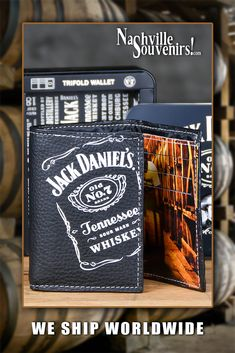 Officially licensed TriFold Jack Daniel's Tennessee Whiskey Wallet packaged in a beautiful collector's tin box.   Interior has a full color image inside a Jack Daniel's Barrel House.  Makes a great gift for Jack Daniel's lovers.   Get one today with FREE SHIPPING on all US orders over $50! Jack Daniels Barrel, Jack Daniels Whiskey, Jack Daniel's Tennessee Whiskey, Androgynous Style, Number 7, Tin Boxes, Colour Images, Distillery, 50th Birthday