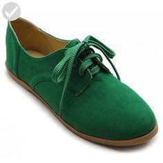 66f484cea5e Ollio Women Classic Flat Shoe Lace Up Faux Suede Oxford(5.5 B(M)