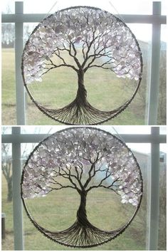 Items similar to Cherry Tree- Wire Tree of Life Wall Hanging in Rose Quartz, Sun Catcher, Rose Quartz, Love in Bloom on Etsy Wire Crafts, Diy And Crafts, Arts And Crafts, Cd Crafts, Diy Décoration, Easy Diy, Simple Diy, Simple Crafts, Creation Deco