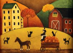 """Original Hand Painted Primitive Halloween Folk Art  Picture """"Witch and Her Pumpkin Cart"""" in Primitive Style Frame - Cats, Saltbox Houses"""