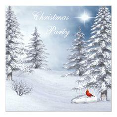 Winter Wonderland & Cardinal Christmas Party Card