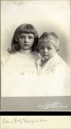 +~+~ Antique Photograph ~+~+  Truly this is one of the most beautiful antique photographs of a brother and sister I've ever seen. The girls face is exquisite!