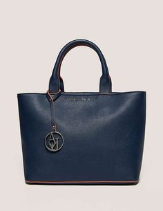 blue Armani Jeans Small Soft Leather Shopper