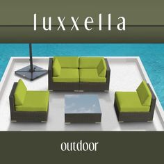 Genuine Luxxella Outdoor Patio Furniture Wicker Contemporary Sofa Sectional BELLA 5pc Set PERIDOT by Luxxella. $1149.00. Curbside delivery with signature required.. The set comes with 2 Middle Chairs, 2 Corner Seats, and 1 Coffee Table. All Weather Proof Wicker Furniture Set provides a sectional design, so you could arrange it as you like.. Listed price at $2,499.00 All Luxxella Products are exclusively made by Luxxella. The Bella 5 set is perfect for anyone who w...