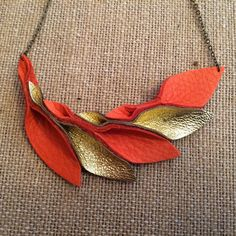 Petal Collection  orange and metallic gold Leather by HaKNiK