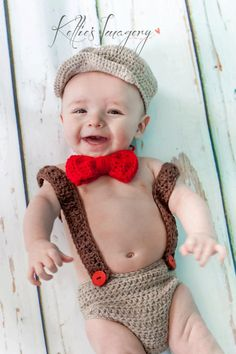 Baby boy photo prop outfit, scally cap with diaper cover, bow tie and suspenders