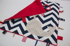 Chevron WHALE baby blanket lovey - nautical anchor baby shower gift - red blue - sensory tag toy minky on Etsy, $24.00