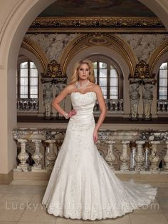 Sweetheart+Lace+and+Satin+Strapless+A-line+Wedding+Gown