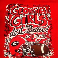 Georgia girls do it better. Sic 'em Go Dawgs! Gotta have an awesome shirt for game day. Georgia Bulldogs Football, Sec Football, Football Season, College Football, Fall Football, Georgia Girls, University Of Georgia, Falcons, Southern Living