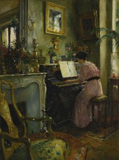A Quiet Afternoon. Luis Jimenez y Aranda (Spanish, Oil on canvas. Luis Jiménez y Aranda delighted in representing the lifestyle of Spain and her people. His work was extremely well. Piano Art, Great Paintings, Detailed Paintings, Old Master, Les Oeuvres, Art Inspo, Oil On Canvas, Modern Art, Art Gallery
