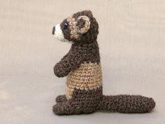 Ravelry: Bunsie the ferret aka polecat pattern by Sonja van der Wijk Preschool Crafts, Fun Crafts, Amigurumi Patterns, Crochet Patterns, Easy Crochet Animals, Hobbies And Crafts, Hobbit, Crochet Hooks, Crochet Projects