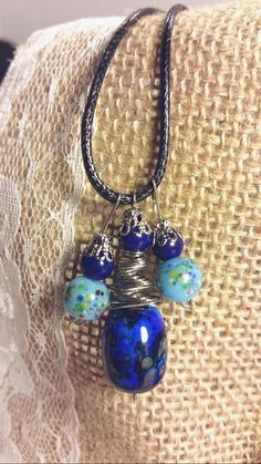 Blue glass bead necklace by SnoBirdBeads on Etsy
