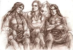 Trinity on the couch by Righon    Curufin the Crafty, Celegorm the Fair and Caranthir the Dark    Fifth, third and fourth sons of Feanor