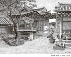 Home Decoration For Living Room Perspective Room, Perspective Drawing, Chinese Drawings, Asian Architecture, Background Drawing, Samurai Art, Art Sketches, Sketch Ink, House Drawing