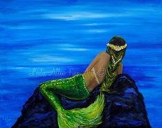 Mermaid Painting Original Canvas Mermaids by LeslieAllenFineArt, $100.00