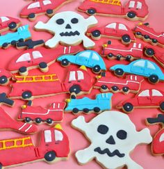 Cookies: cars, fire trucks, helicopters and skulls