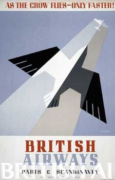 British Airways poster about travel to Paris and Scandinavia / 1920s-30s