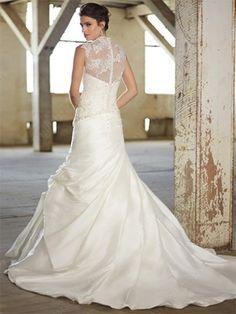 A-line Straps Taffeta Sweep Train White Lace Wedding Dresses