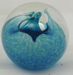 Vintage Caithness Scotland Splash Art Glass Paperweight Blue White Swirls marked