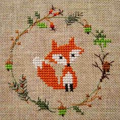 Embroidery Applique, Cross Stitch Embroidery, Embroidery Patterns, Fall Cross Stitch, Simple Cross Stitch, Easy Cross Stitch Patterns, Cross Stitch Designs, Cross Stitch Alphabet, Cross Stitch Animals