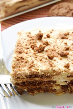 Pumpkin Gingersnap Icebox Cake ~ an easy, no-bake fall dessert of pumpkin, cream cheese, and fresh whipped cream layered with gingersnap cookies that transforms into soft, creamy cake after chilling in the refrigerator! | FiveHeartHome.com