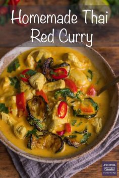 A creamy and full flavoured Thai red curry recipe with tender chunks of chicken and oven roasted veggies. Make this simple Thai red curry in just 30 minutes and for a boost of flavour try it with homemade Thai red curry paste. Thai Red Chicken Curry, Thai Red Curry, Roasted Veggies In Oven, Thai Curry Recipes, Coconut Sauce, Red Curry Paste, Latest Recipe, Oven Roast, Chicken Recipes