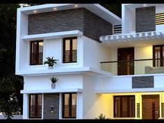 Proposed Residence For Musthafa, Designed by Shine Builders Consultancy - 9447730104 2 Storey House Design, Bungalow House Design, House Front Design, Small House Design, Modern House Design, Flat Roof House Designs, Duplex Design, Architect Design House, Modern House Facades