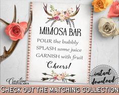 Mimosa Bar Sign in Antlers Flowers Bohemian Bridal Shower Gray and Pink Theme, brunch and bubbly, horns flowers, party organization - MVR4R - Digital Product bridal shower wedding bride to be bridesmaids