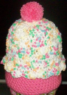 CROCHET BABY GIRLS**CUPCAKE HAT**SIZE 6 TO 12 MONTHS
