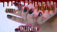 Unhas com efeito de sangue escorrendo para Halloween