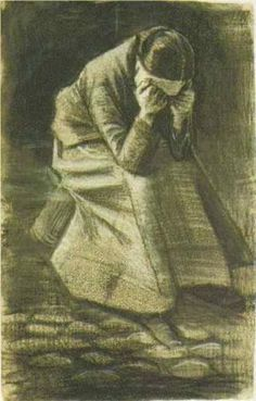 Vincent van Gogh (Dutch: 1853 – 1890) | Woman Sitting on a Basket with Head in Hands (1881)
