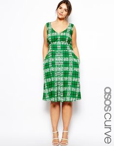 Enlarge ASOS CURVE Midi Dress In Check Print