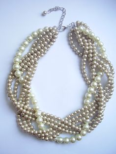 Ivory and Champagne braided pearl necklace