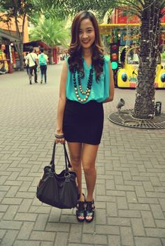bodycon skirt with flowy top